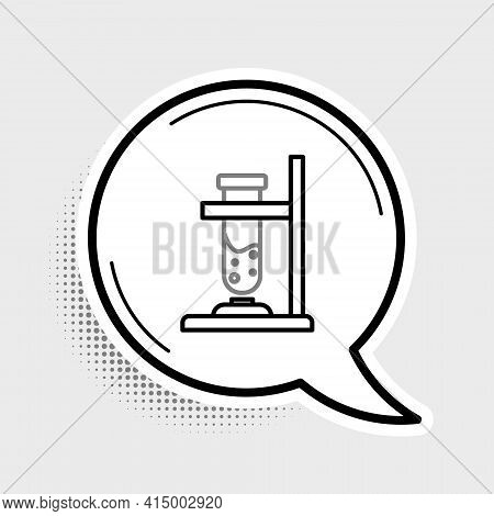 Line Glass Test Tube Flask On Fire Heater Experiment Icon Isolated On Grey Background. Laboratory Eq