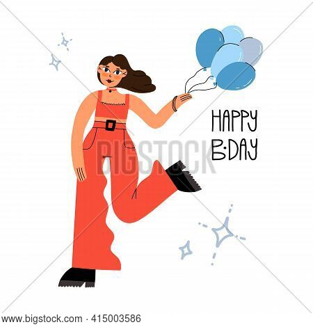 Birthday Greeting Card Design. Cute Girl In Red Outfit And Choker Holding Balloons And Dancing. Happ