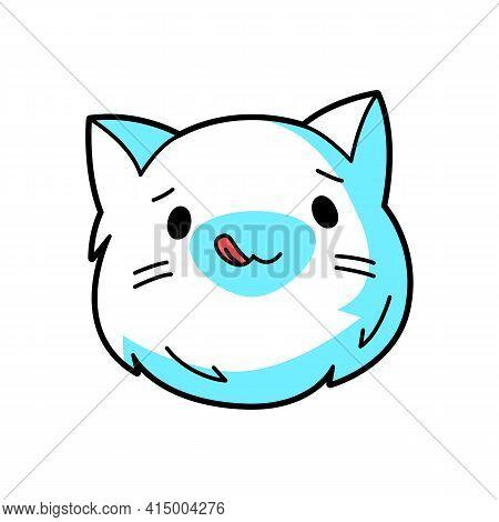 Illustration Of Cute Kawaii Cat Muzzle. Cartoon Character.