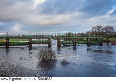 Glenlochar Barrage On The River Dee At Loch Ken, Galloway Hydro Electric Scheme, Dumfries And Gallow