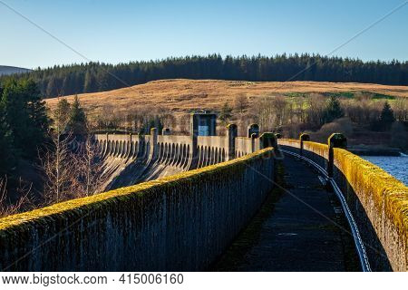 Walk Way At The Top Clatteringshaws Dam, A Gravity Dam On The Galloway Hydro Electric Scheme In Scot