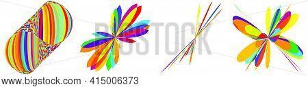 Curvy Random Vibrant Colourful Abstract Shapes, Design Elements Set. Jumble, Kaleidoscope Effect Vec