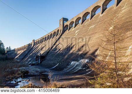 Clatteringshaws Dam On The Blackwater Of Dee, In The Winter Sun, Galloway Hydro Electric Scheme, Sco