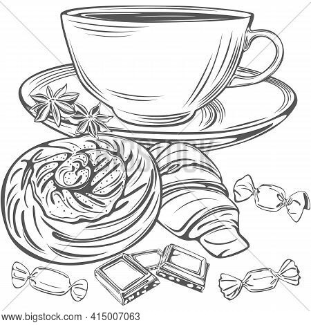 Teacup And Saucer, Candies And Slices Chocolate, Croissant And Twisted Snail Bun In Vintage Style. V