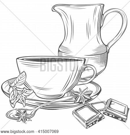 Creamer, Cup With Teaspoon, Slices Of Chocolate, Mint And Anise In Vintage Style. Vector Image