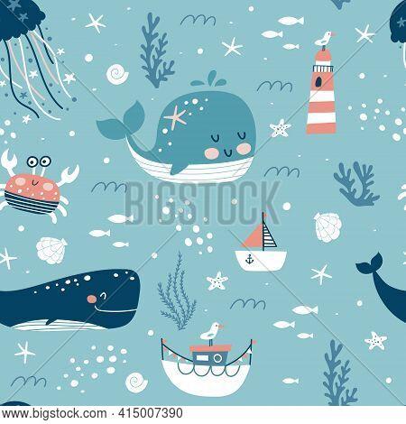 Marine Animals Seamless Pattern. Childish Print. Undersea World Inhabitants. Оctopus, Whale, Fish, C