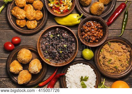 Flat Lay Assortment With Delicious Brazilian Food. High Quality And Resolution Beautiful Photo Conce