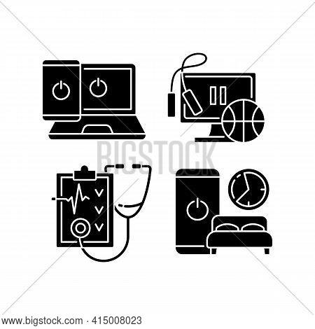 Healthy Lifestyle Black Glyph Icons Set On White Space. Going Offline. Exercise Break. Regular Healt