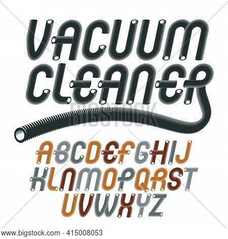 Vector Capital Modern Alphabet Letters, Abc Set. Trendy Italic Rounded Font, Script From A To Z Can