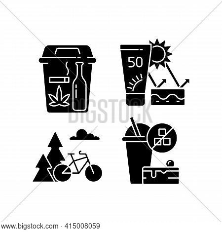 Healthy Habits Black Glyph Icons Set On White Space. Quitting Bad Habits. Skin Protection. Outdoor A