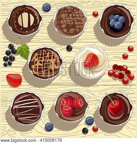 Muffins, Muffins And Fairy Cake Of Various Types On Wood Dextur, With Currants, Blueberries And Stra