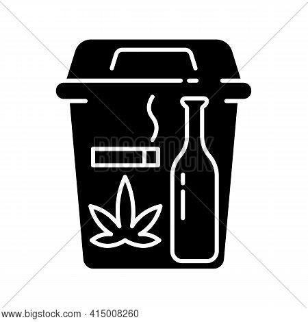 Quitting Bad Habits Black Glyph Icon. No Smoking. Stop Drug Dependance. Refuse Alcohol Drink. Health