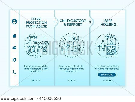 Domestic Violence Survivors Support Onboarding Vector Template. Responsive Mobile Website With Icons