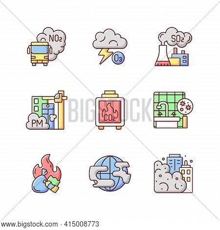 Air Pollution Rgb Color Icons Set. Dangerous And Toxic Dust Parts In Air. Health Problems Because Of