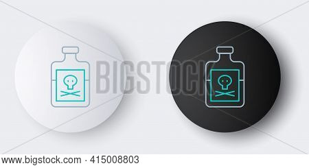 Line Poison In Bottle Icon Isolated On Grey Background. Bottle Of Poison Or Poisonous Chemical Toxin