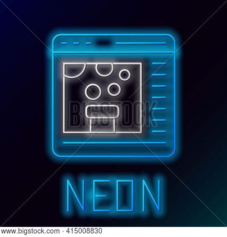 Glowing Neon Line Chemical Experiment Online Icon Isolated On Black Background. Scientific Experimen