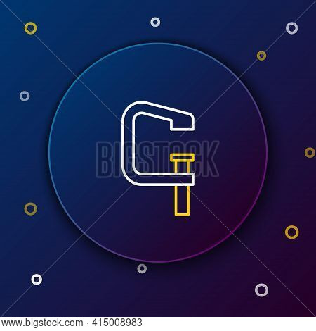 Line Clamp And Screw Tool Icon Isolated On Blue Background. Locksmith Tool. Colorful Outline Concept