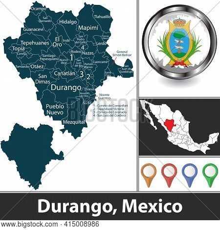 State Of Durango With Municipalities And Location On Mexican Map. Vector Image