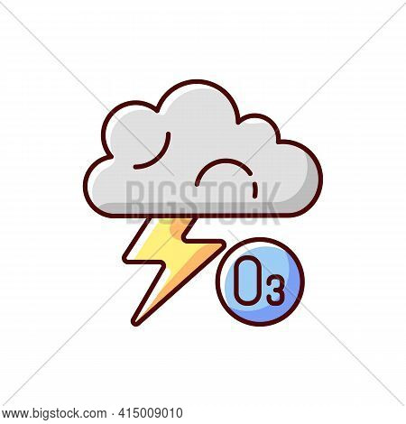 Lightning Rgb Color Icon. Lightning Significantly Increases Regional Ozone And Other Gases That Affe