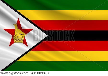 Flag Of Zimbabwe Fabric Texture Of The Flag Of Zimbabwe.