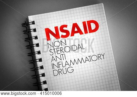 Nsaid - Nonsteroidal Anti-inflammatory Drug Acronym On Notepad, Concept Background
