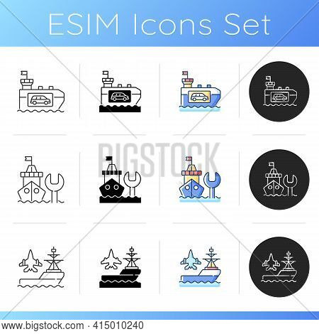 Maritime Industry Icons Set. Vehicle Carrier Ship. Maintenance And Repair. Aircraft Carrier. Car Shi