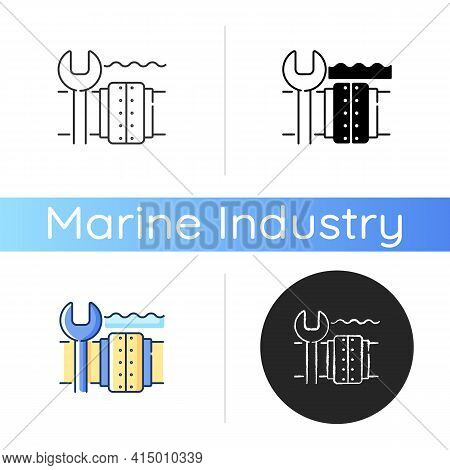 Underwater Pipeline Repair Icon. Subsea Pipeline Integrity Repairing And Reinforcing. Offshore And S