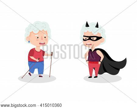 Couple Of Grandmothers Characters. Grandmother In A Superhero Costume And An Athlete With Scandinavi