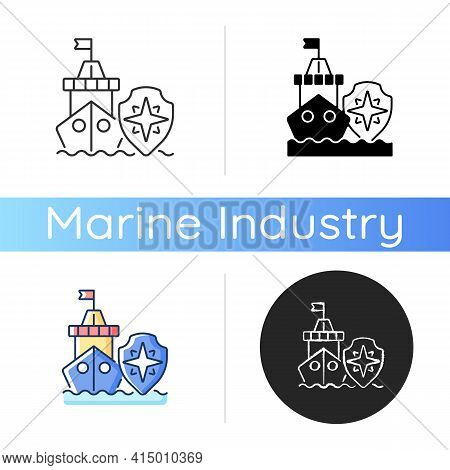 Maritime Security Icon. Marine Environment Protection. Preventing Maritime Terrorism, Trafficking, P