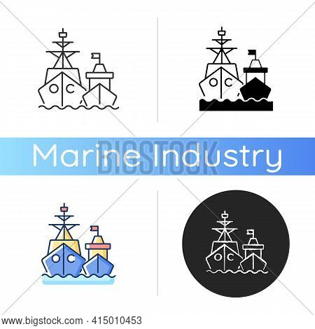Naval Fleet Icon. Military Force Unit. Warships Formation In Ocean. Warfare Ships. Naval Squadron. B