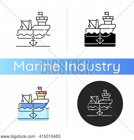 Anchored Ship Icon. Anchorage. Anchoring Operation. Holding Vessel In Same Place. Protecting Ship Du