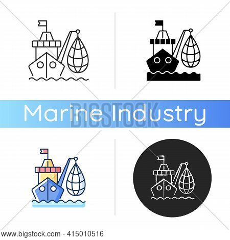 Industrial Fishing Icon. Selling Fish And Fish Products. Commercial Fishing Industry. Overfishing En