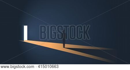Standing Figure In A Dark Room In Front Of An Open Door With Bright Light Coming In From Outside - N