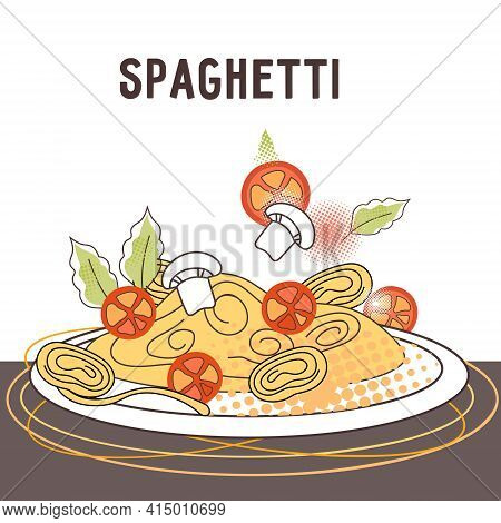 Banner Or Poster With Plate Of Cooked Spaghetti, Flat Cartoon Vector Illustration. Italian Spaghetti