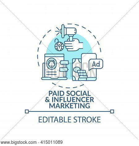 Paid Social And Influencer Marketing Concept Icon. Online Event Marketing Tip Idea Thin Line Illustr