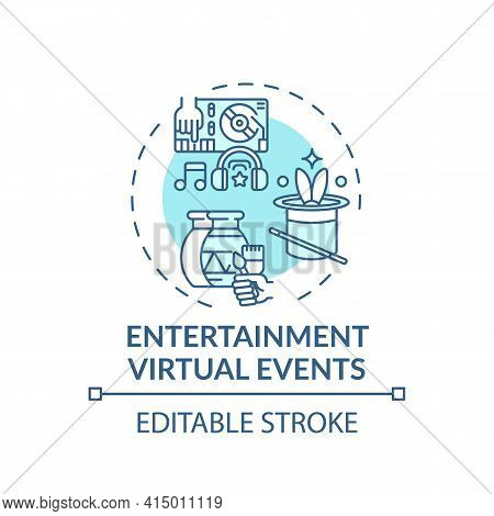 Entertainment Virtual Events Concept Icon. Sessions Type Idea Thin Line Illustration. Virtual Concer