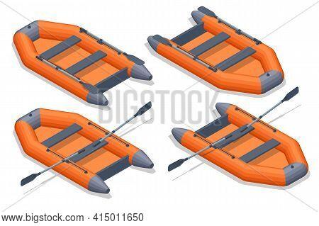 Isometric Set Icons Of Orange Rubber Inflatable Boat. Inflatable Rubber Boat For Recreation And Trav