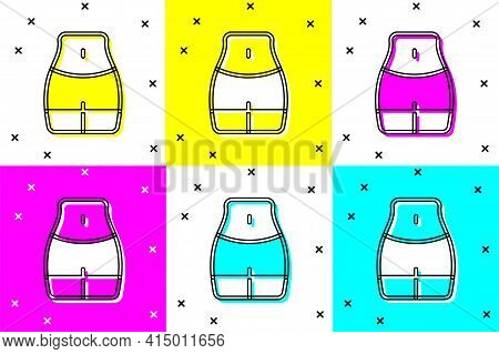 Set Women Waist Icon Isolated On Color Background. Vector