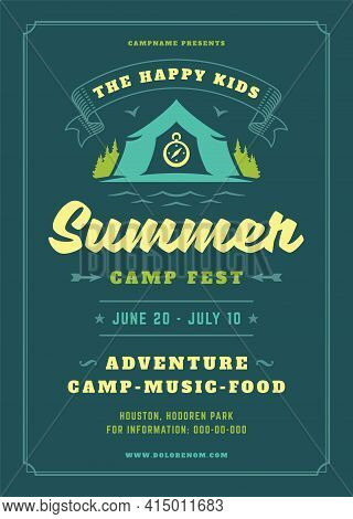 Kids Summer Camp Poster Or Flyer Event Retro Typography Design Template And Forest Lanscape And Tent