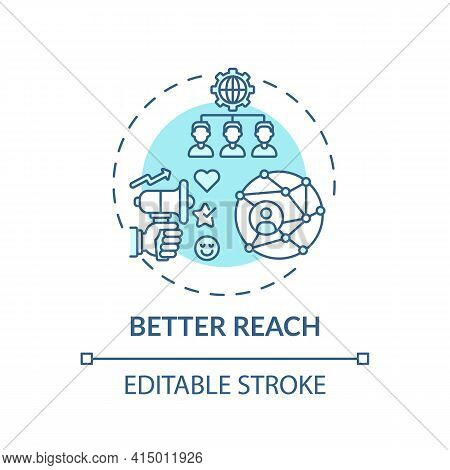 Better Reach Concept Icon. Hybrid Event Benefit Idea Thin Line Illustration. Integrated Engagement.