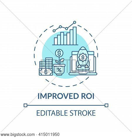Improved Roi Concept Icon. Hybrid Event Idea Thin Line Illustration. Driving Revenue. Engaging With