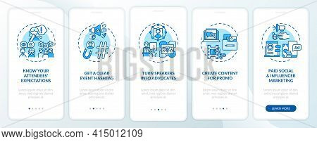 Virtual Event Marketing Tips Onboarding Mobile App Page Screen With Concepts. Speakers, Hashtag Walk