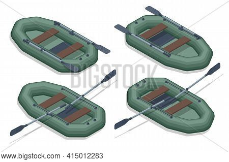 Isometric Set Icons Of Rubber Inflatable Boats For Fishing, Hunting And Recreation. Inflatable Rubbe