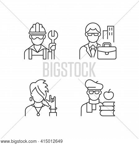 Social Classification Linear Icons Set. Blue And White Collar Workers. Classes In Society. Customiza