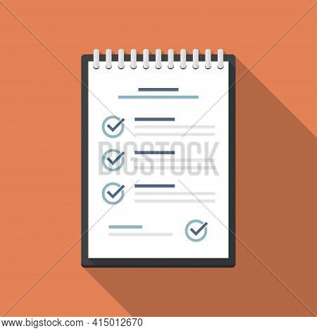 Notebook With Checklist In A Flat Design With Long Shadow