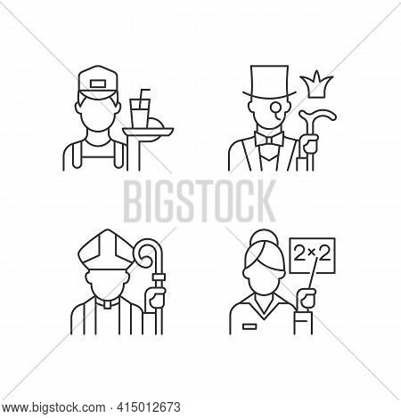 Social Class Type Linear Icons Set. Working Poor. Aristocratic Elite. Society Classification. Custom