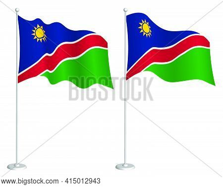 Flag Of Namibia On Flagpole Waving In Wind. Holiday Design Element. Checkpoint For Map Symbols. Isol