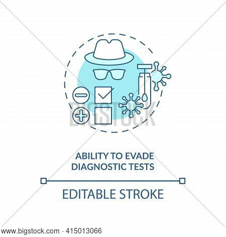 Ability To Evade Diagnostic Tests Concept Icon. Virus Not Appearing On Any Medical Tests. Disease Fi