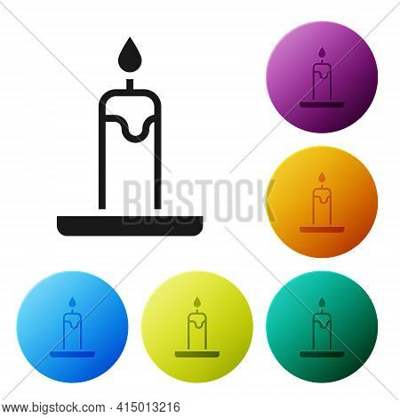 Black Burning Candle In Candlestick Icon Isolated On White Background. Cylindrical Candle Stick With
