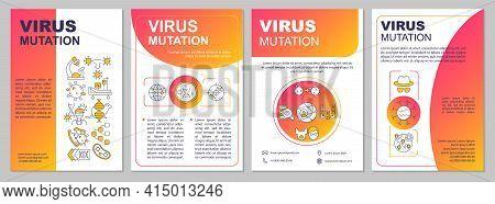 Virus Mutation Brochure Template. Viral Genetic Change In Genome. Flyer, Booklet, Leaflet Print, Cov